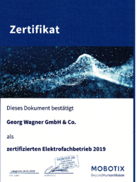 Zertifikat Mobotix bei Georg Wagner GmbH & Co in Lohr/Main