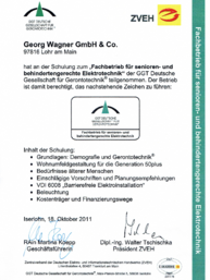 ZVEH Zertifikat bei Georg Wagner GmbH & Co in Lohr/Main